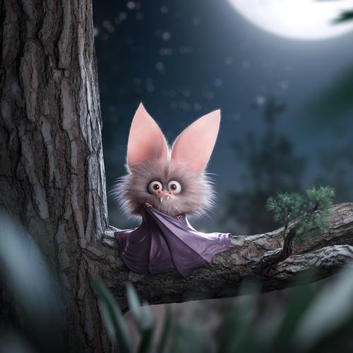cute vampire bat 3d character