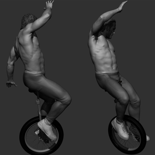 man cycling tricycle 3d