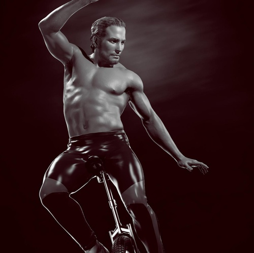 athletic male on tricycle
