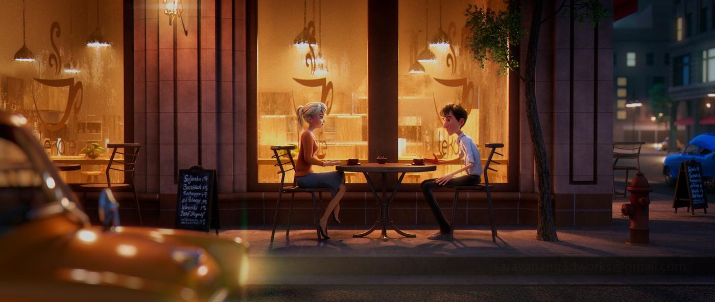 date night restaurant outdoor environment 3d model