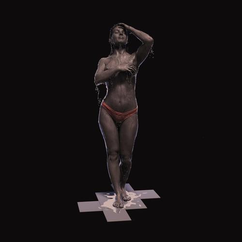 woman showering 3d model