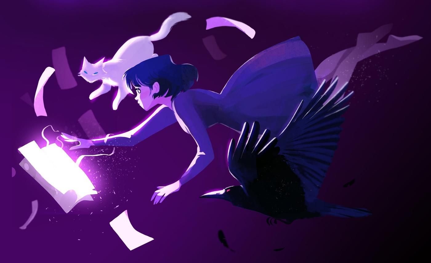 cat crow girl purple hues stylised illustration digital art 2d
