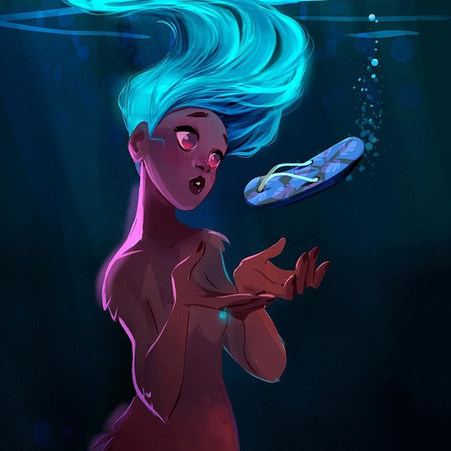 mermay girl 2d ocean swimming mermaid illustration digital art