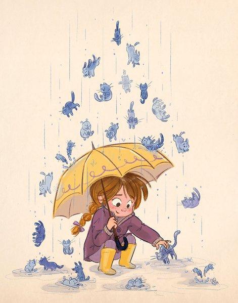 umbrella, cats, dogs, raining cats and dogs, rain