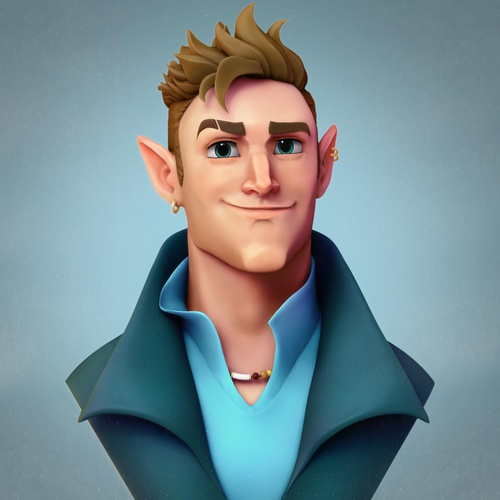 blonde male character design render stylised