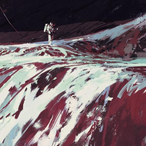 futuristic sci-fi  2d illustration digital art stylised paint