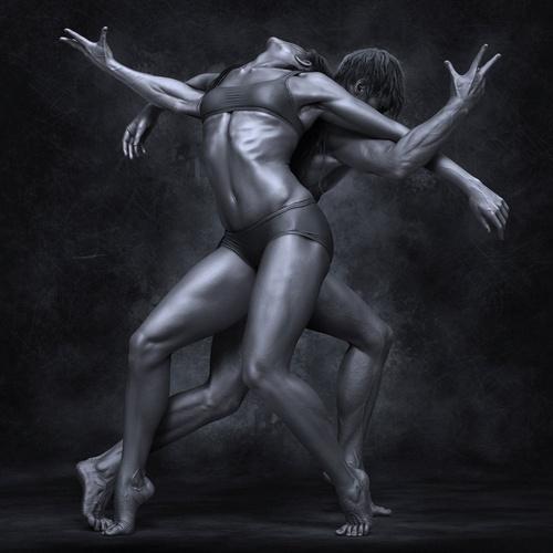 male female partner model dancing posing
