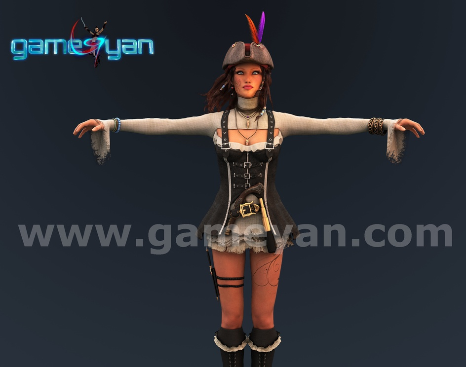 Angela 3D Woman Pirates Character Rigging by Game Outsourcing Companyby GameYan