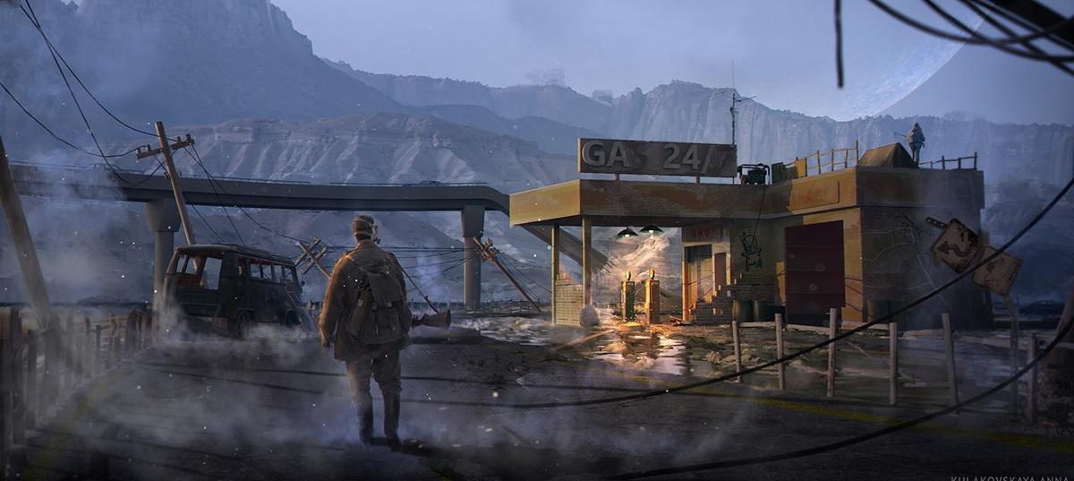 post apocalyptic, gas mask, deserted garage