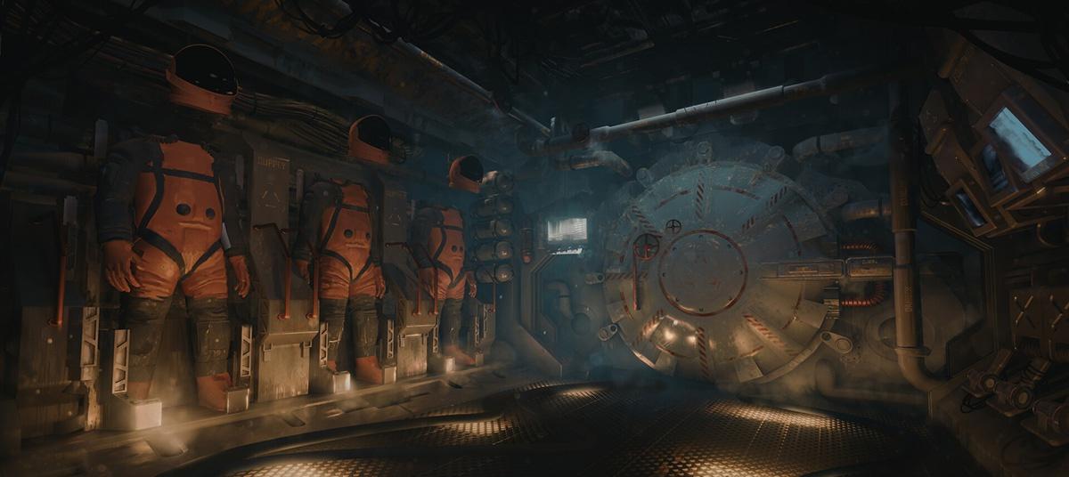 space suits astronauts space door
