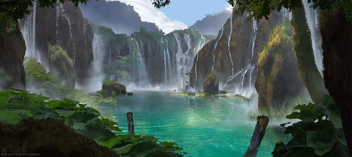 tropical waterfall island