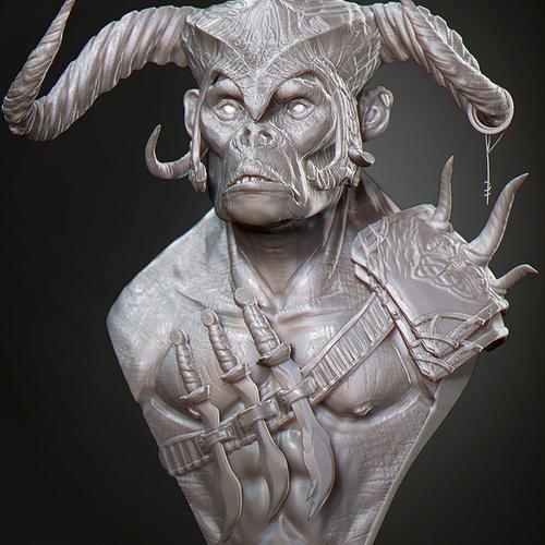 male ogre horns fantasy character creature design 3d