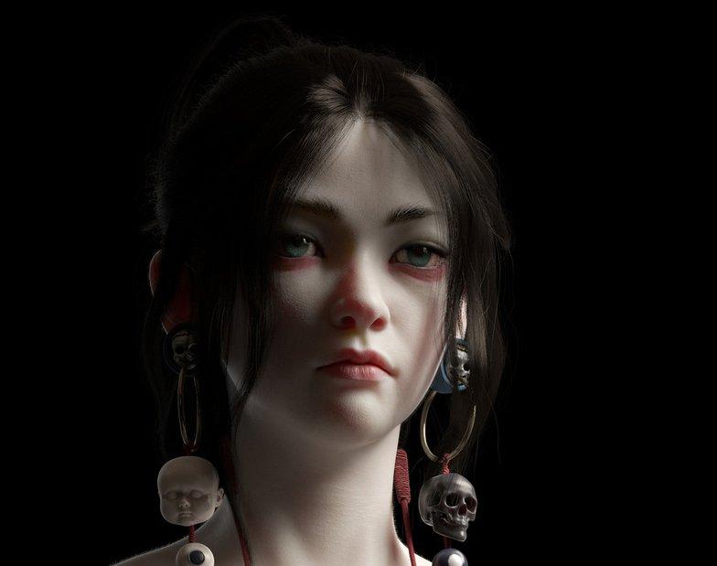 asian girl heroine portrait female character