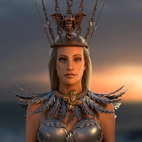 realistic portrait 3d sculpture athena character