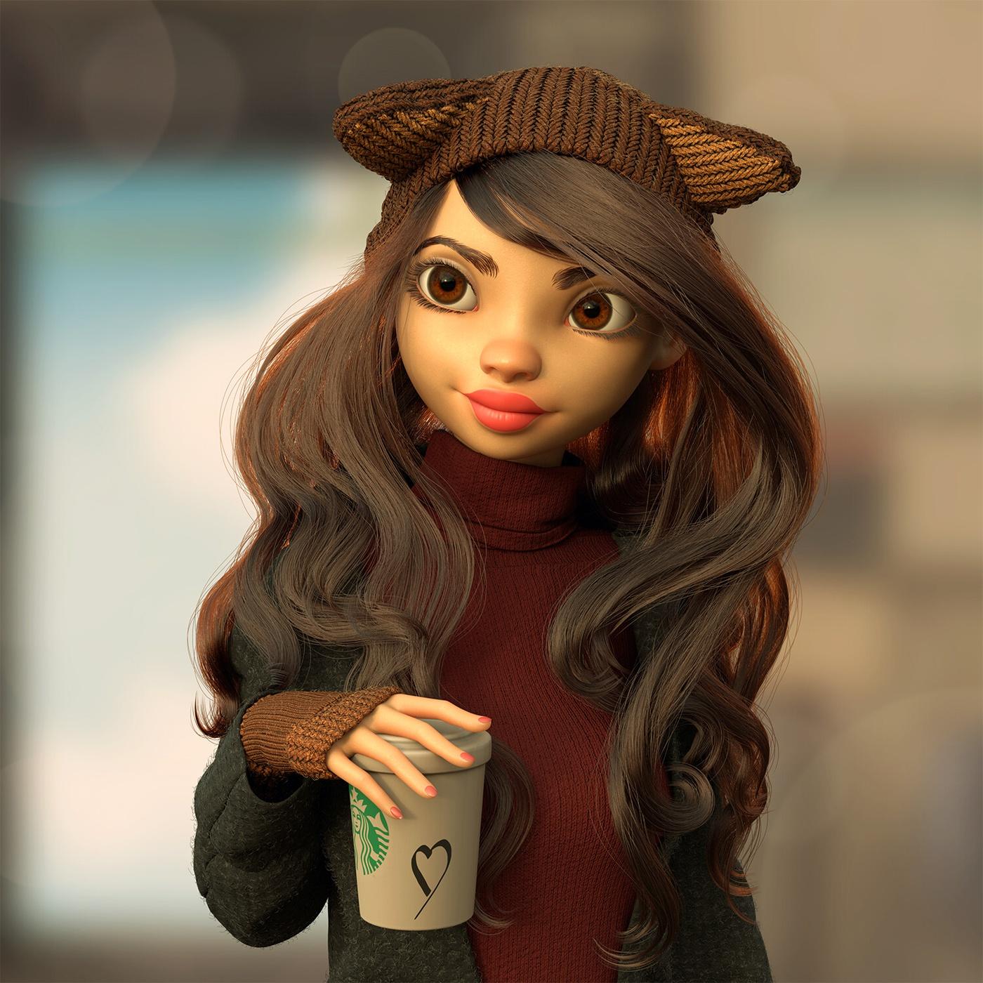 autumn beanie hot beverage starbucks female character design