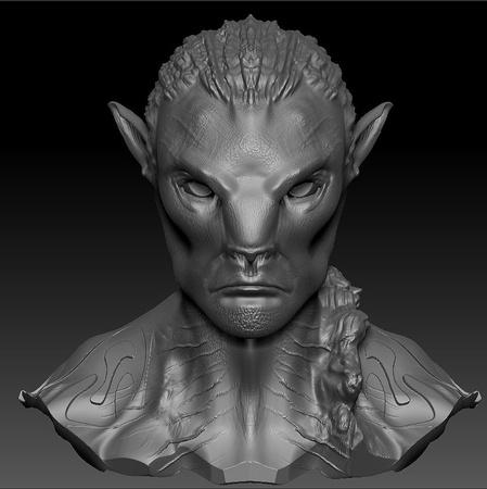 portrait male 3d sculpt render model reptilian monster creature design