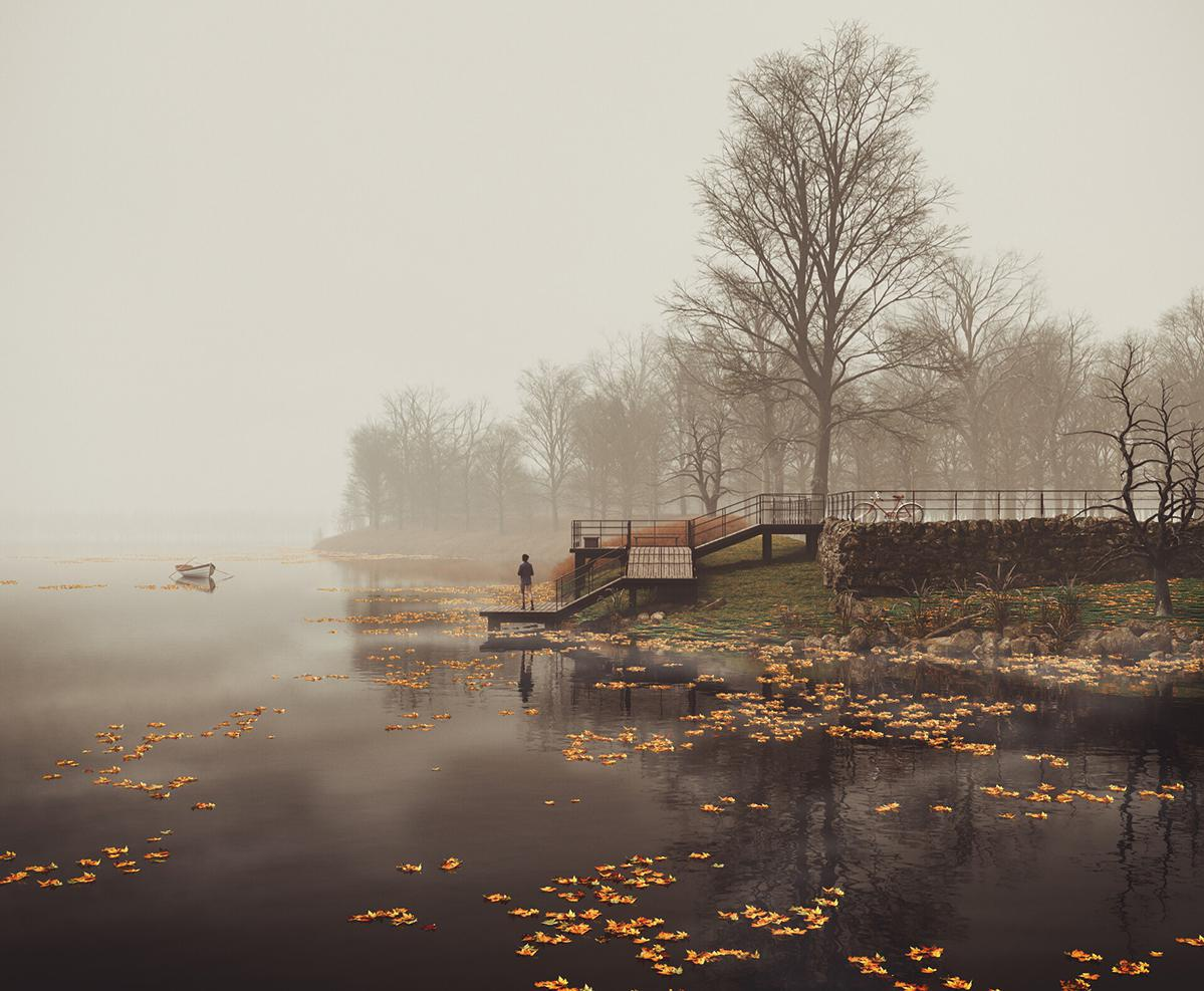 winter moody row boat river water reflection  atmospheric trees nature