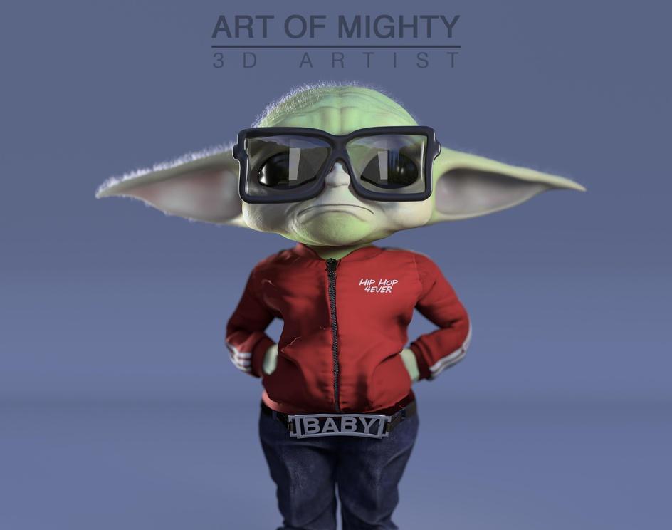 Baby Yoda loves Old School Hip Hopby Art of Mighty