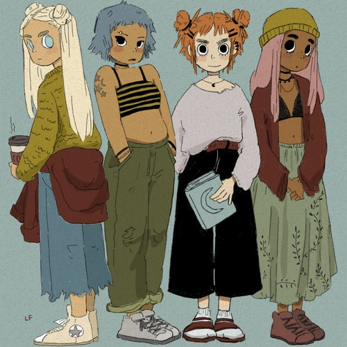 2d character design girls group digital art
