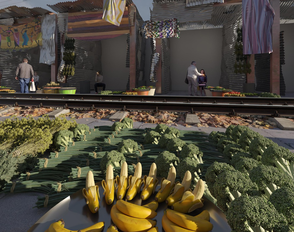 bazaar and trainby Ali Shamsi Pour