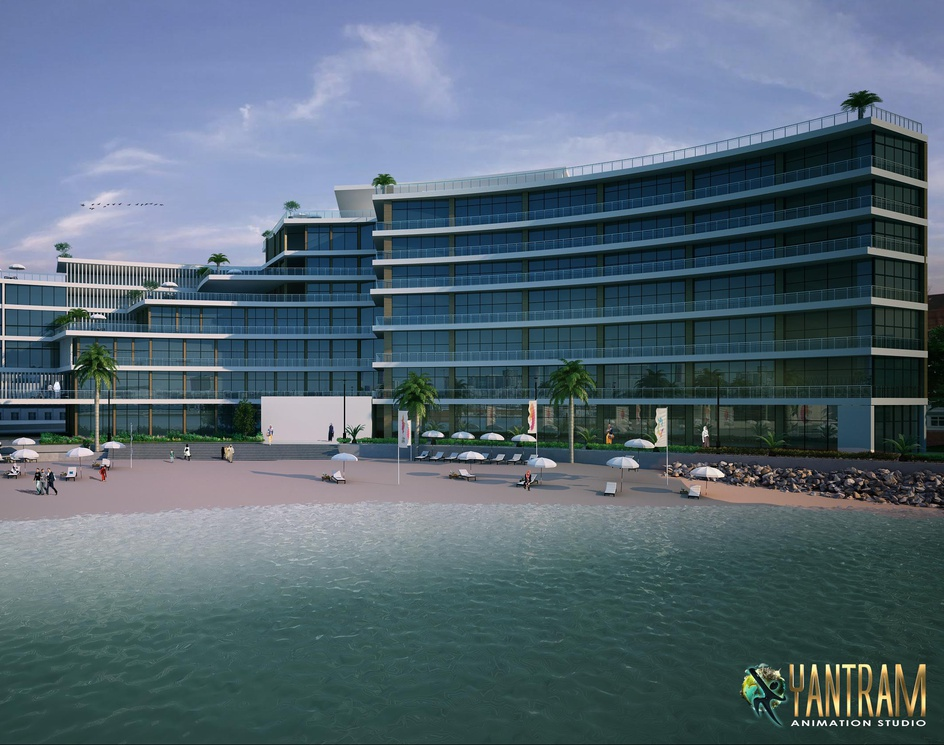 Beach Side Exterior Rendering Services by Yantram architectural design studio, Baltimore - Marylandby Ruturaj Desai