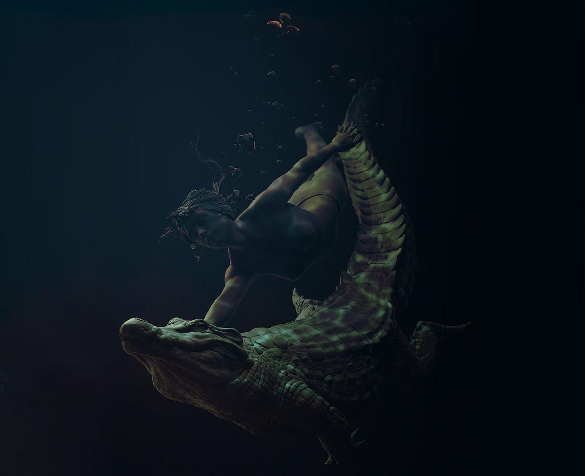 crocodile and woman underwater
