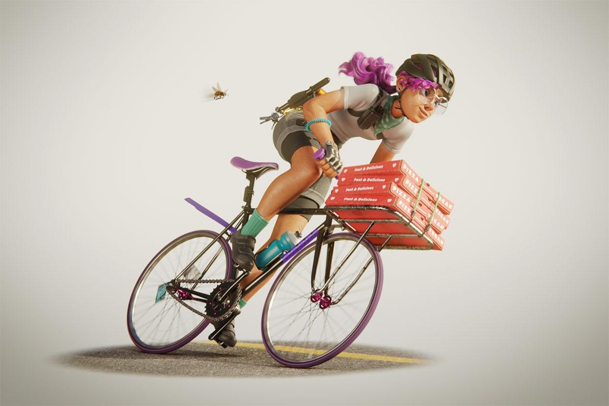 bike, pizza, bee, woman, cyclist