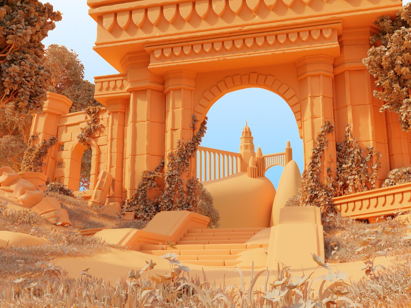 olympus greek mythology 3d render setting character daytime