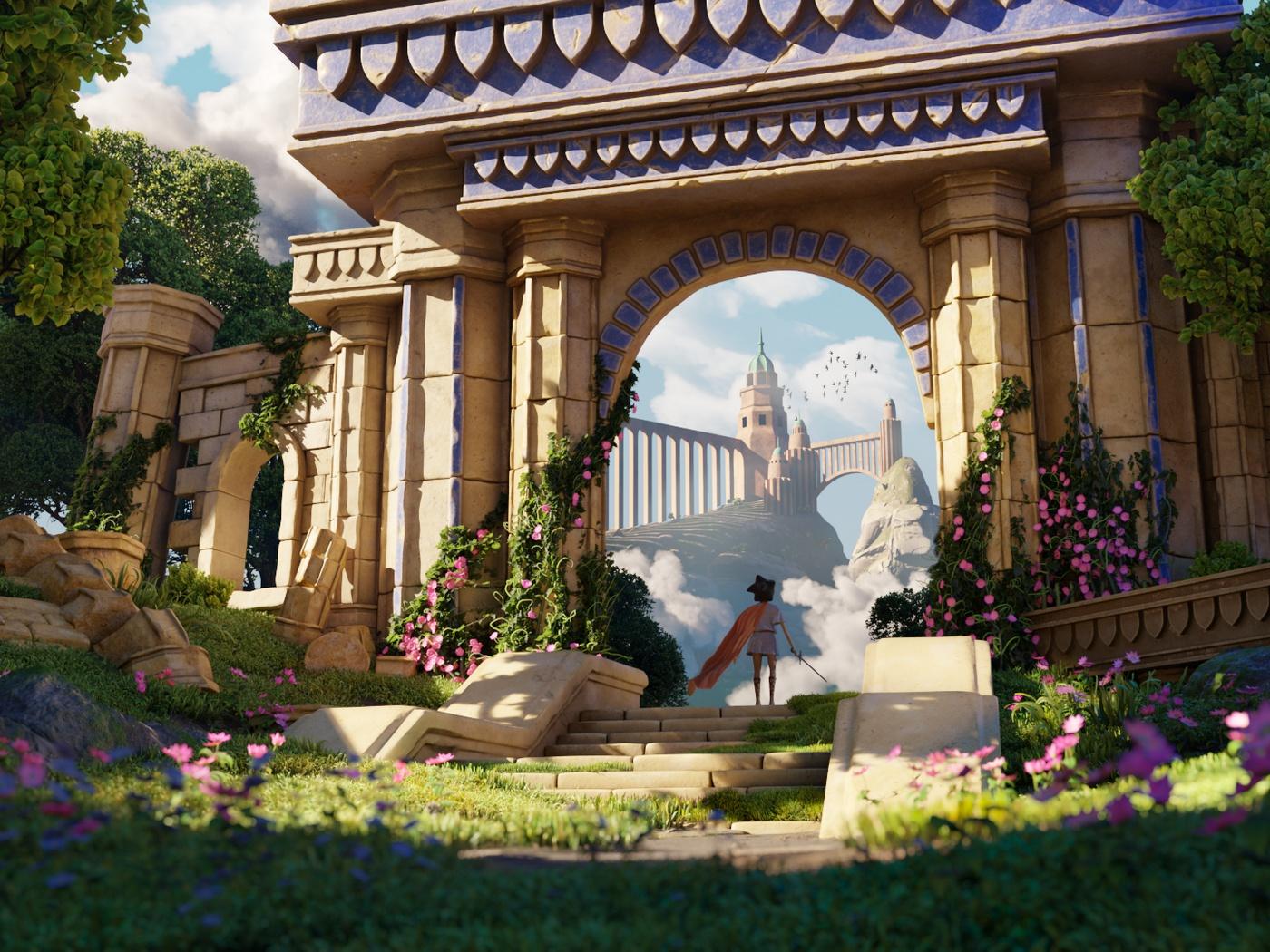 olympus greek mythology 3d render setting character model