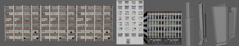modeling building stylised cyberpunk city scape  3d render