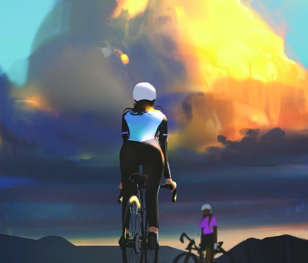 2d illustration digital art biking sports woman