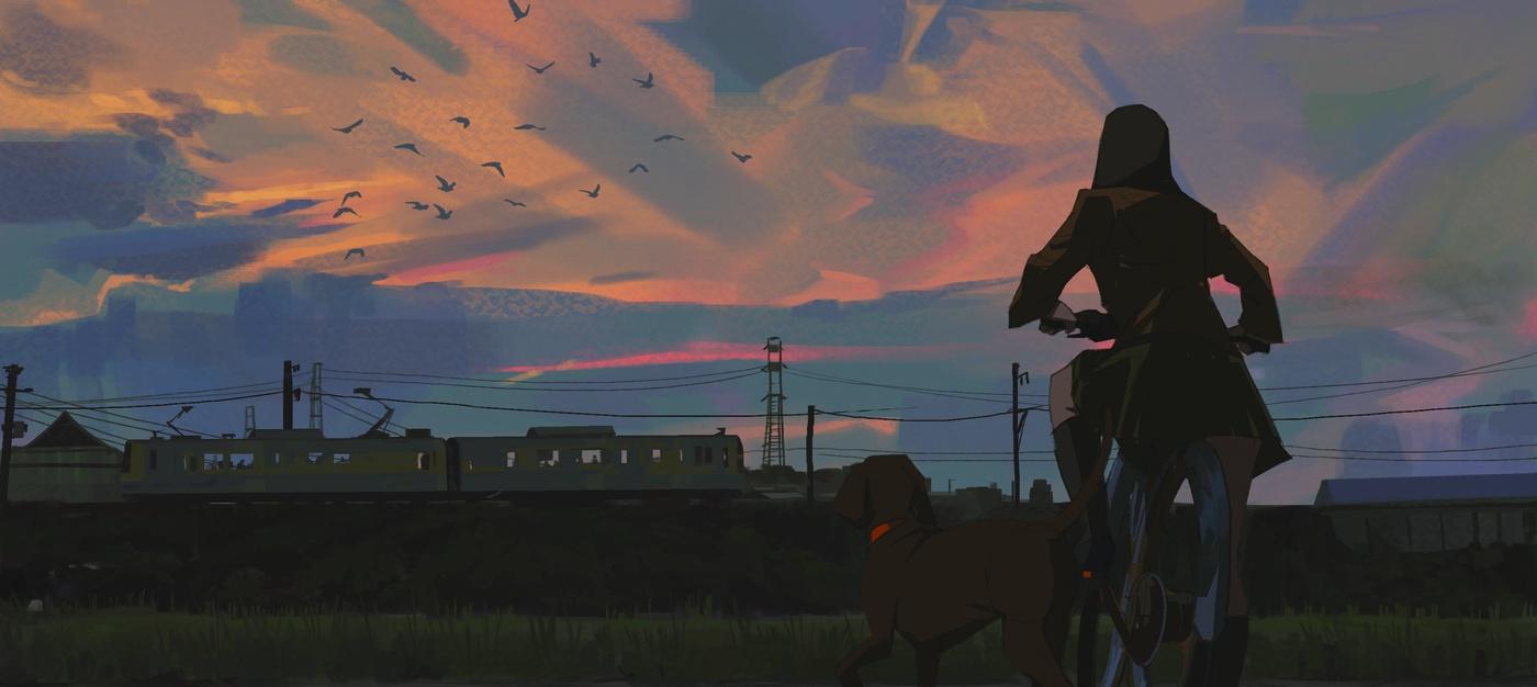 2d illustration girl bike dog digital art sunset