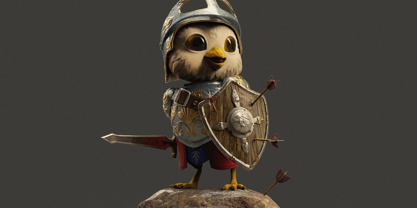 3d model render little bird