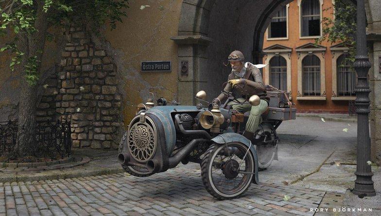 stockholm old man journey vehicle