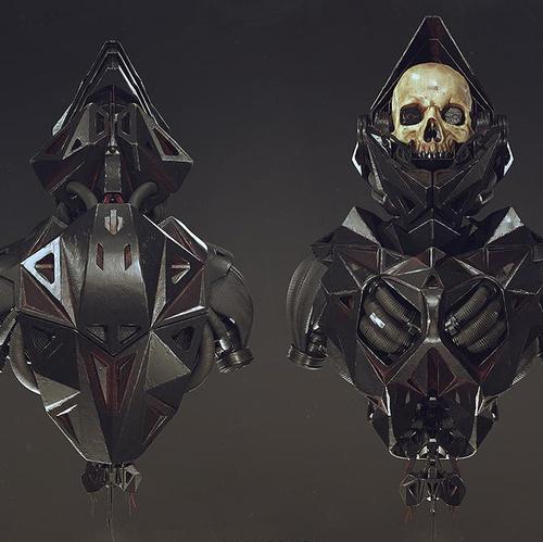 Alexandr Novitskiy Black dark fantasy skull skeleton armour