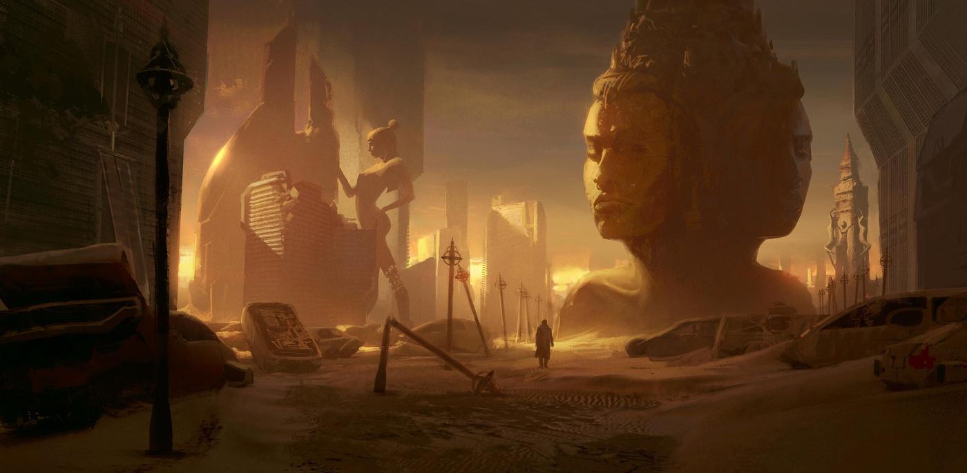 apocalyptic cyberpunk sand 2d illustration