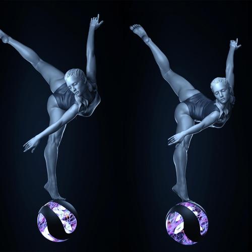 ballerina woman on sphere object
