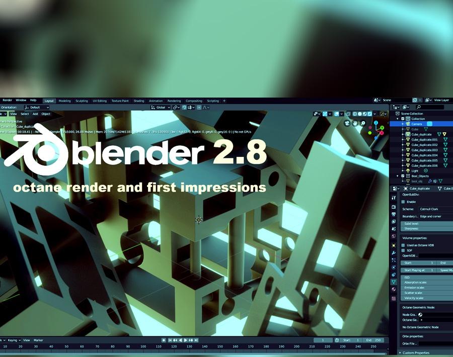 Blender 2.8 beginner tutorial. Free Octane Render and first impressions. Addons.by Andrew Krivulya