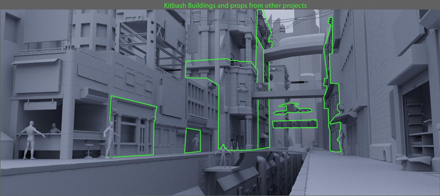 blockout kitbash render props building rendering models