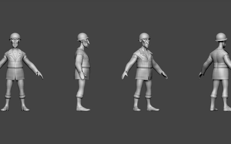 3d plain simple model character design