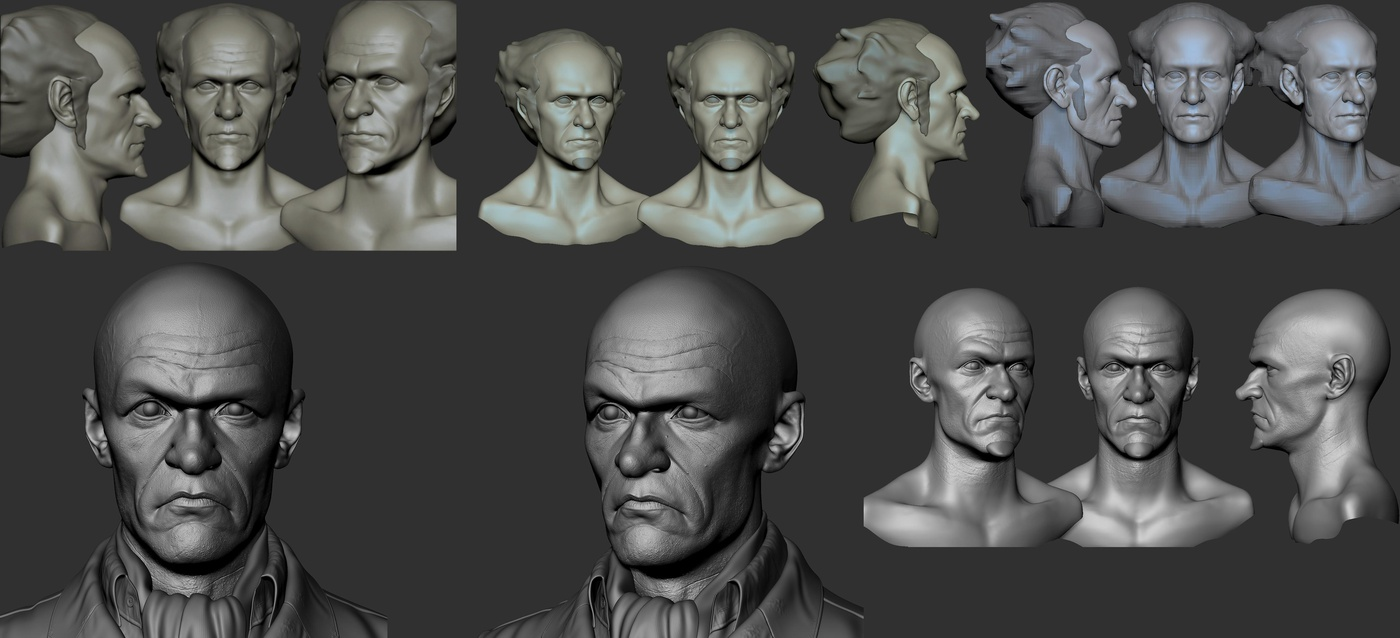 3d blocking main forms facial shape head model render