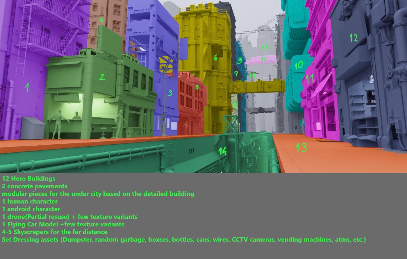 detailing blocking 3d model rendering modular pieces cityscape