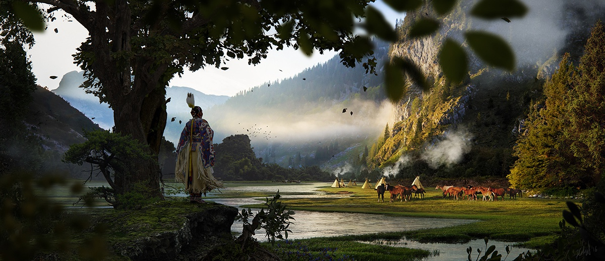landscape digital painting native character