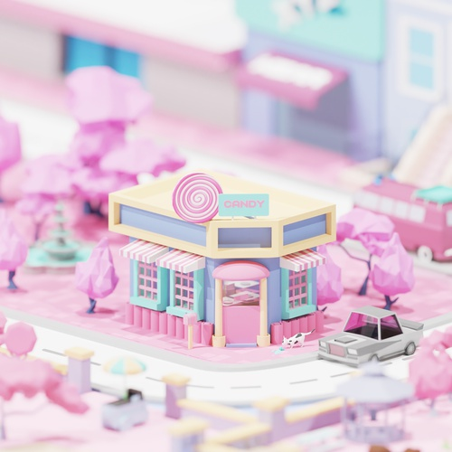 candy shop pastel colours blender low poly