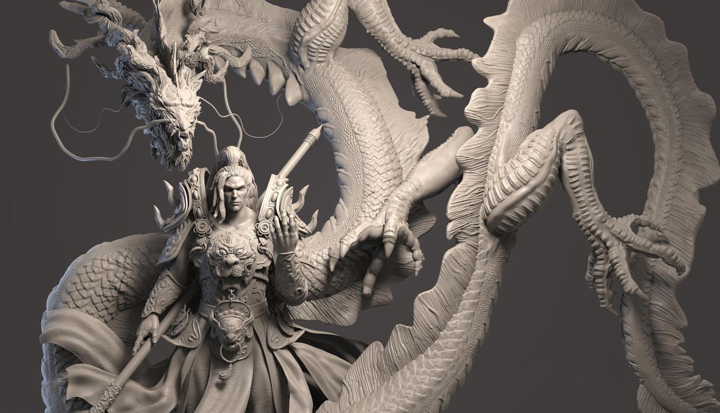 Asian inspired 3d model imagery dragon warrior art design