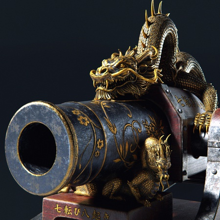wooden close up Feudal Japan canon weaponry 3d object sculpt render