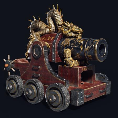 dragon Feudal Japan canon weaponry 3d object sculpt render
