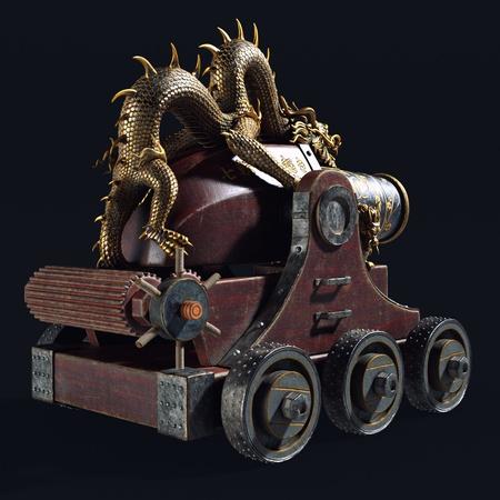 Feudal Japan canon weaponry 3d object sculpt render