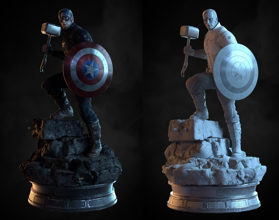 Captain America The Avengers Endgame Fan Art 3D Portraitby peace