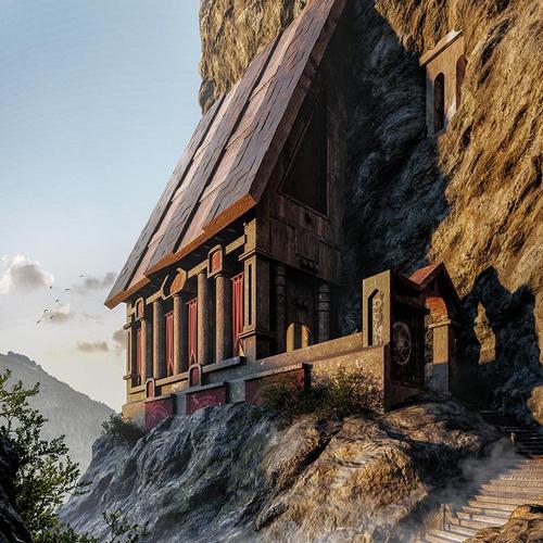 arch-viz 3d concept viking castle mountain day